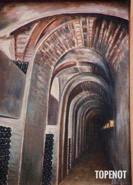 Caves-champagne-Moet-et-Chadon-huile-sur-toile-1989-33x27