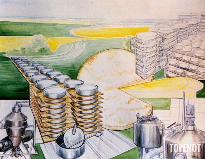 Fromagerie-Donge-Triconville-Acrylique-sur-papier-1999