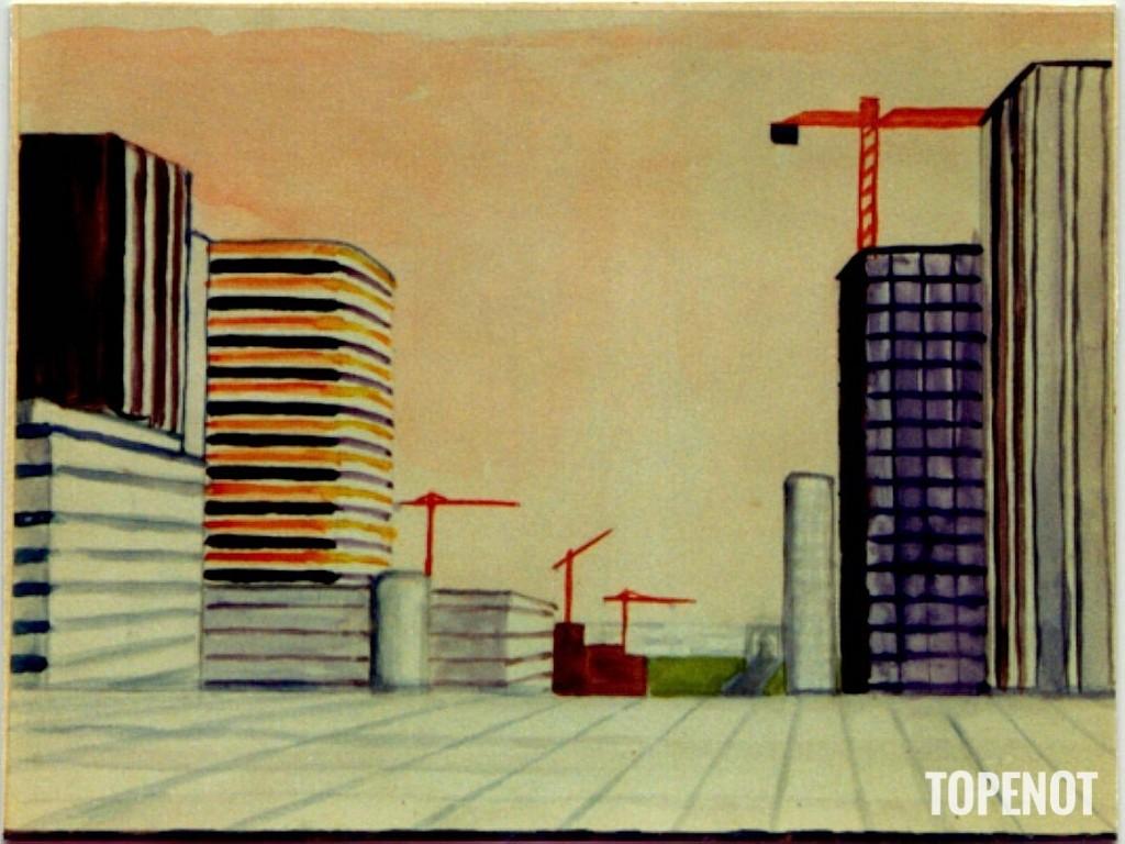 La Défense-en-construction-Aquarelle-1974