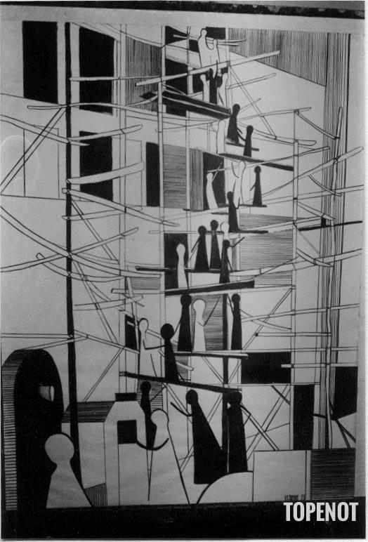 La-tour-de-Babel-Graphisme-encre-de-Chine-1973