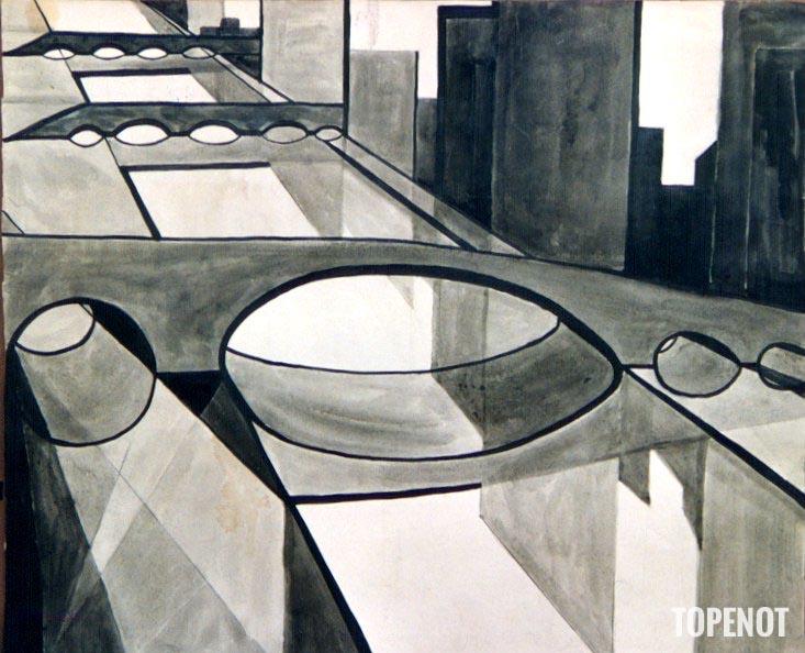 Ponts-Courbevoie-Lavis-et-encre-de-Chine-1973