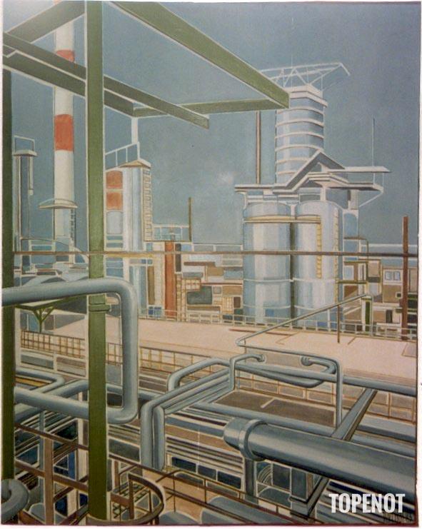 raffinerie-petrole-Huile-sur-toile-1983-100x73